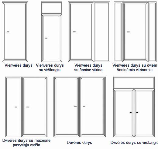 1. Lauko durų konstrukcijų įvairovė